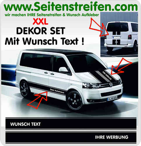 VW T4 T5 T6 Désirent Texte - Sticker bande latérale autocollant ensemble complet N° 5096