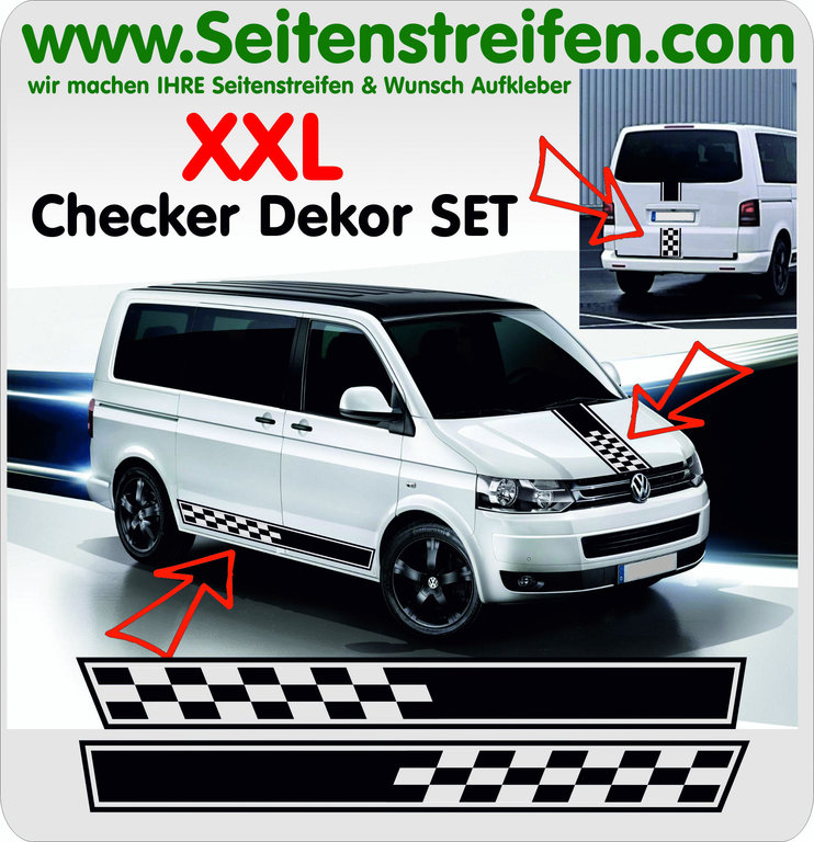Checker Look - XXLpegatinas adhesivo Set VW Bus T4 T5 - N° 5097