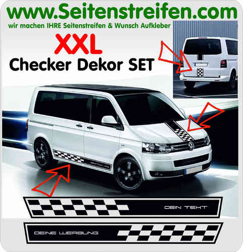 VW Bus T4 T5 T6 CHECKER Wunsch Text XXL Aufkleber Dekor Sticker Komplett Set Nr.: 5098
