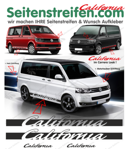 VW Bus T4 T5 T6 California Carrera Look Sticker bande latérale autocollant ensemble complets N° 5099
