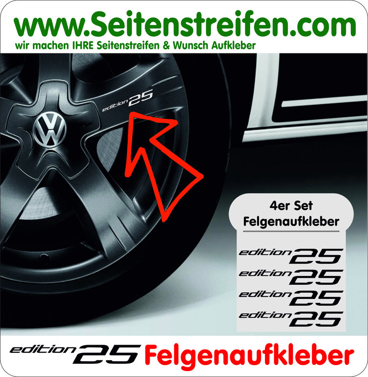 VW BUS T4 T5 T6 Edition 25 Felgen Aufkleber 4er Set - Art. Nr.: 6010