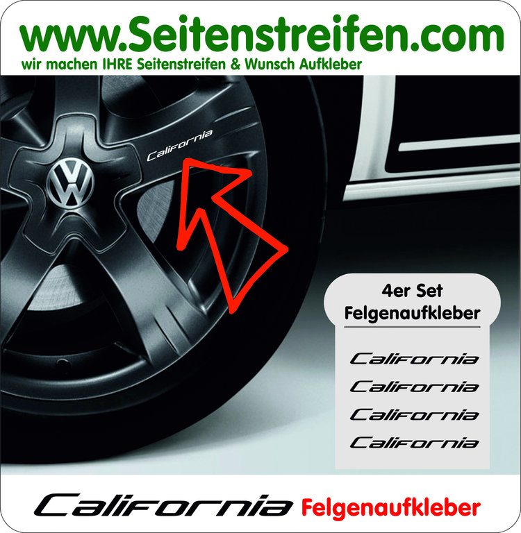 VW Bus California Felgen Aufkleber 4er Set - Art. Nr.: 8089