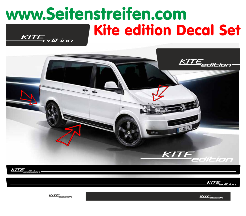VW Bus T4 T5 T6 - Kite Edition - Side Stripes Graphics Decals Sticker Kit - N° 9752