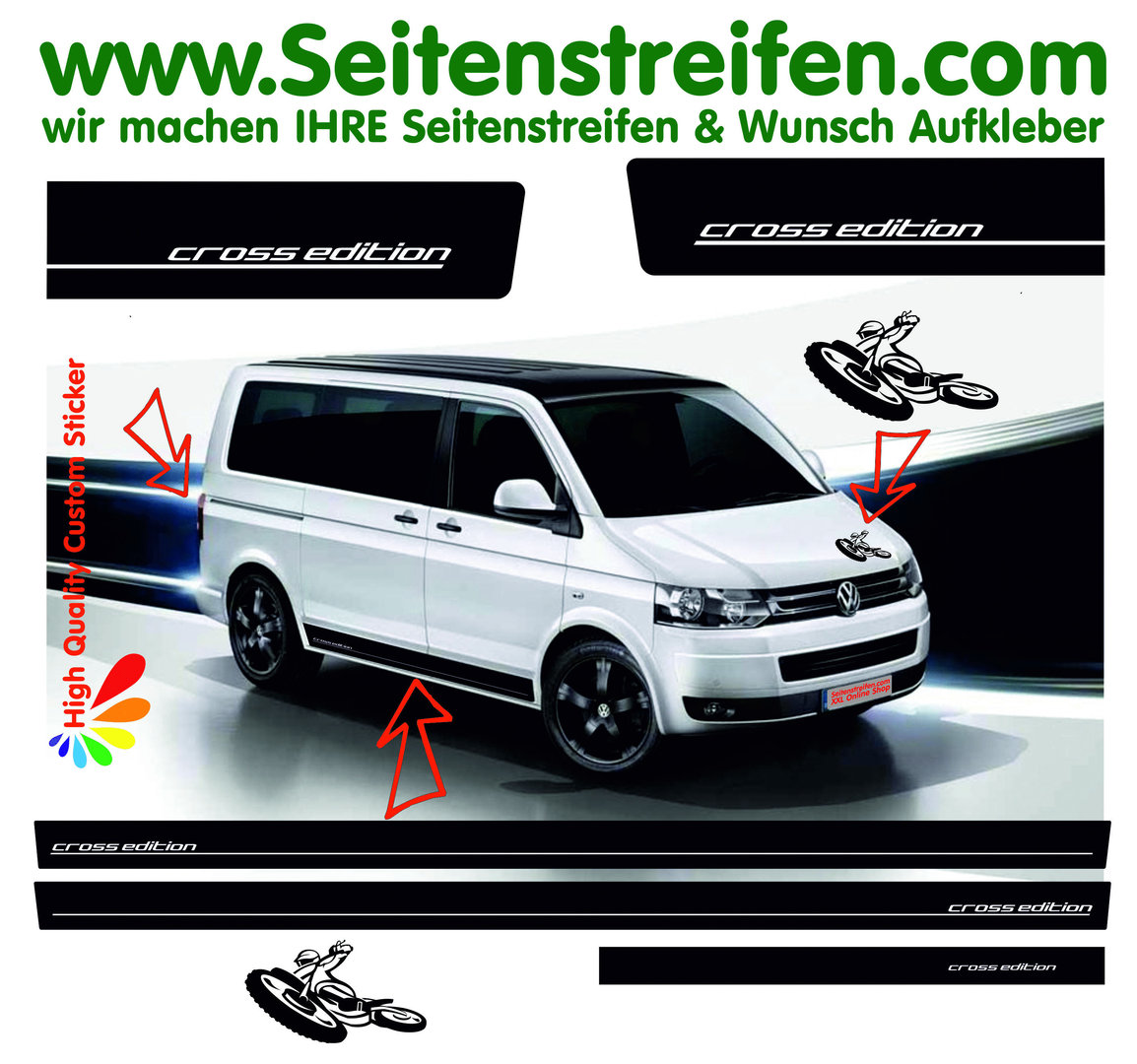VW Bus T4 T5 T6 - Cross Edition Motocross - Side Stripes Graphics Decals Sticker Kit - N° 8952