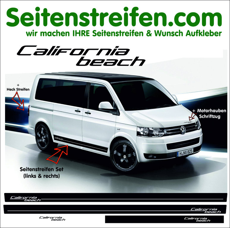 VW Bus T4 T5 T6 California Beach Seitenstreifen Aufkleber Komplett Set edition Look - Art.Nr.: 6708