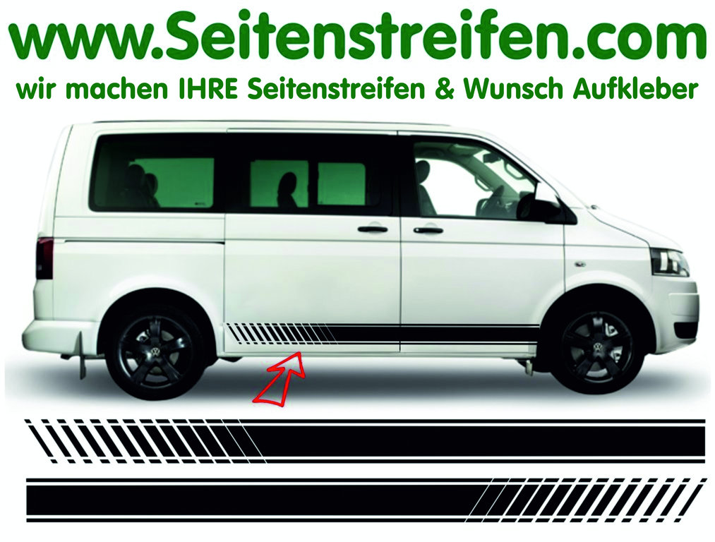 VW Bus T4 T5 EVO  Side Stripe Sticker Decal Set - N° 8072