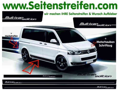 VW Bus T4 T5 T6  Multivan Sticker bande latérale autocollant ensemble complet N° 9717
