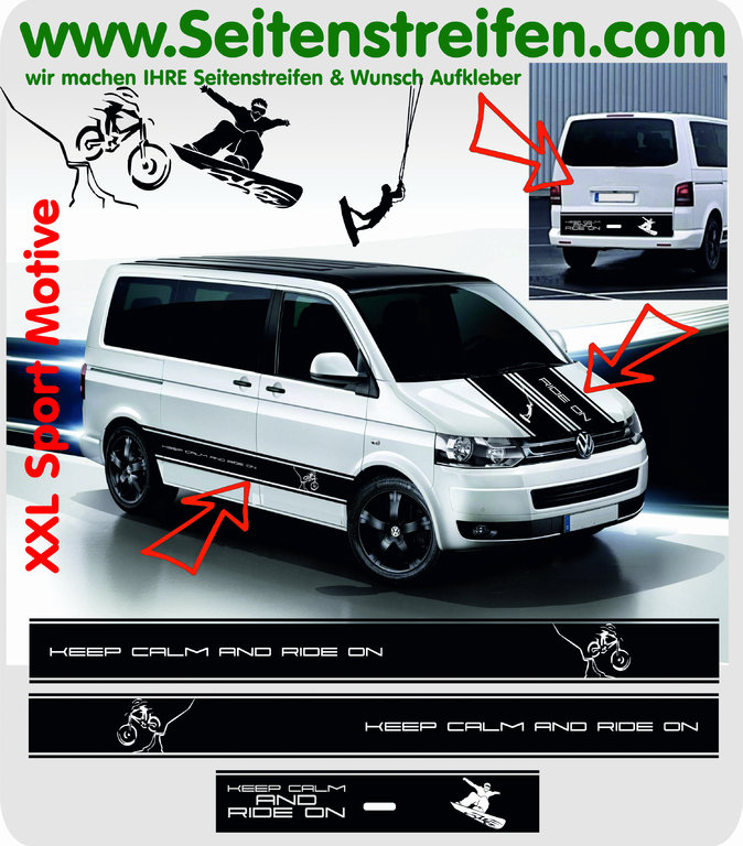 VW Bus T4 T5 T6 KEEP CALM Kite Snowboard Biker Sport Aufkleber Dekor Sticker Komplett Set Nr.: 8719