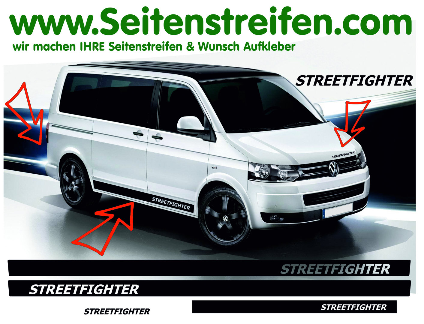 VW Bus T4 T5 T6 - STREETFIGHTER - Side Stripes Graphics Decals Sticker Kit - N° 9768