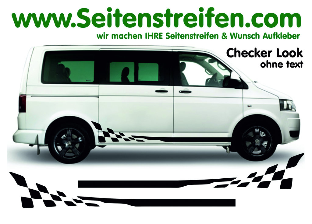 VW Bus T4 T5  Multivan Checker set de pegatinas laterales / adhesivo - N° 5891