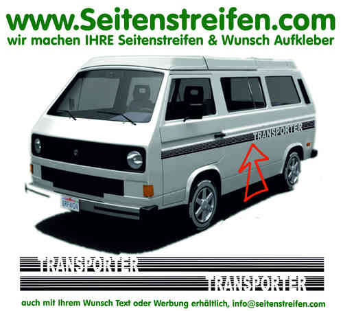 VW Bus T3 TRANSPORTER Stripes Custom - Seitenstreifen Aufkleber Dekor Komplett Set  - Art.Nr.: 17023