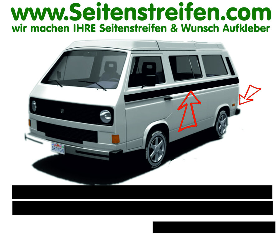 VW Bus T3 - Custom - Side Stripes Graphics Decals Sticker Kit - N° 17027