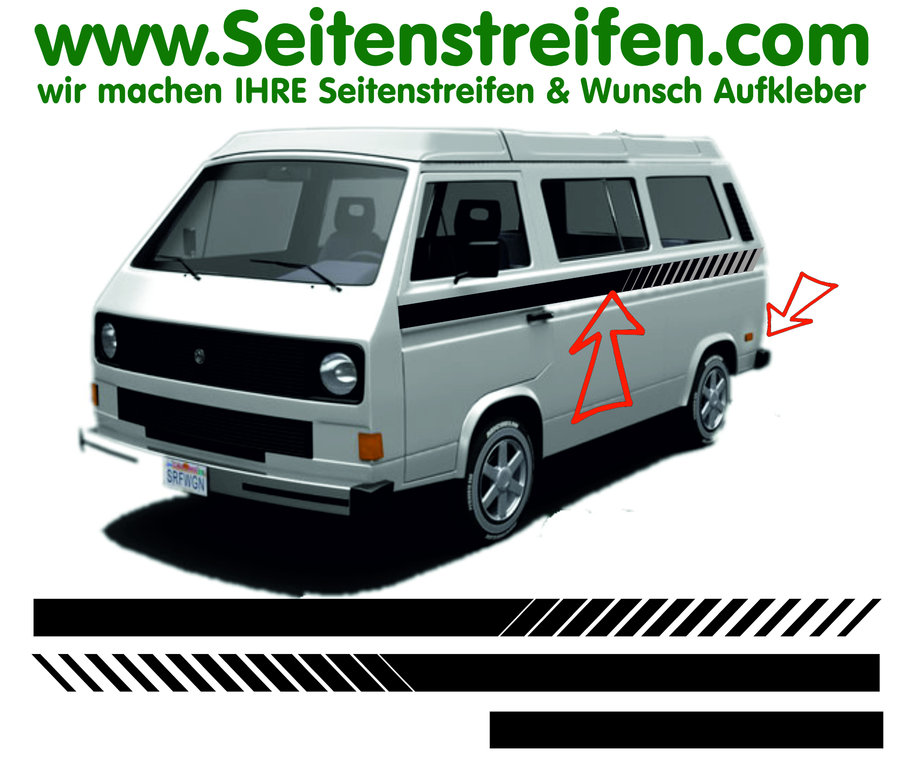 VW Bus T3 - EVO Custom - Side Stripes Graphics Decals Sticker Kit - N° 17028