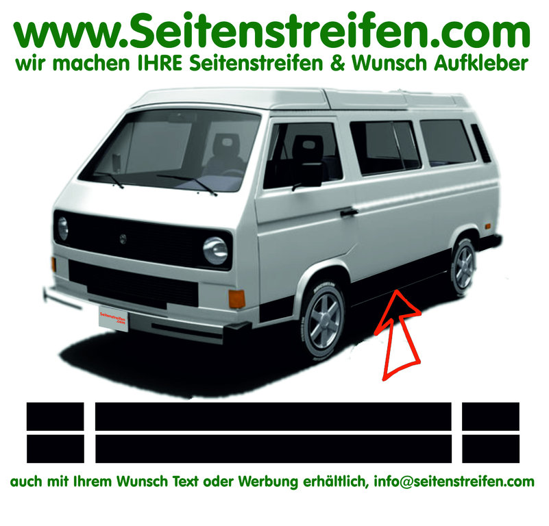 VW Bus T3 - Version N°1 - Side Stripes Graphics Decals Sticker Kit - N° 17029