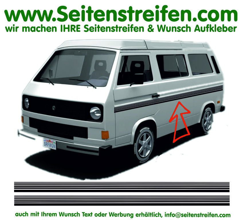 VW Bus T3 - Stripes - Side Stripes Graphics Decals Sticker Kit - N° 17030