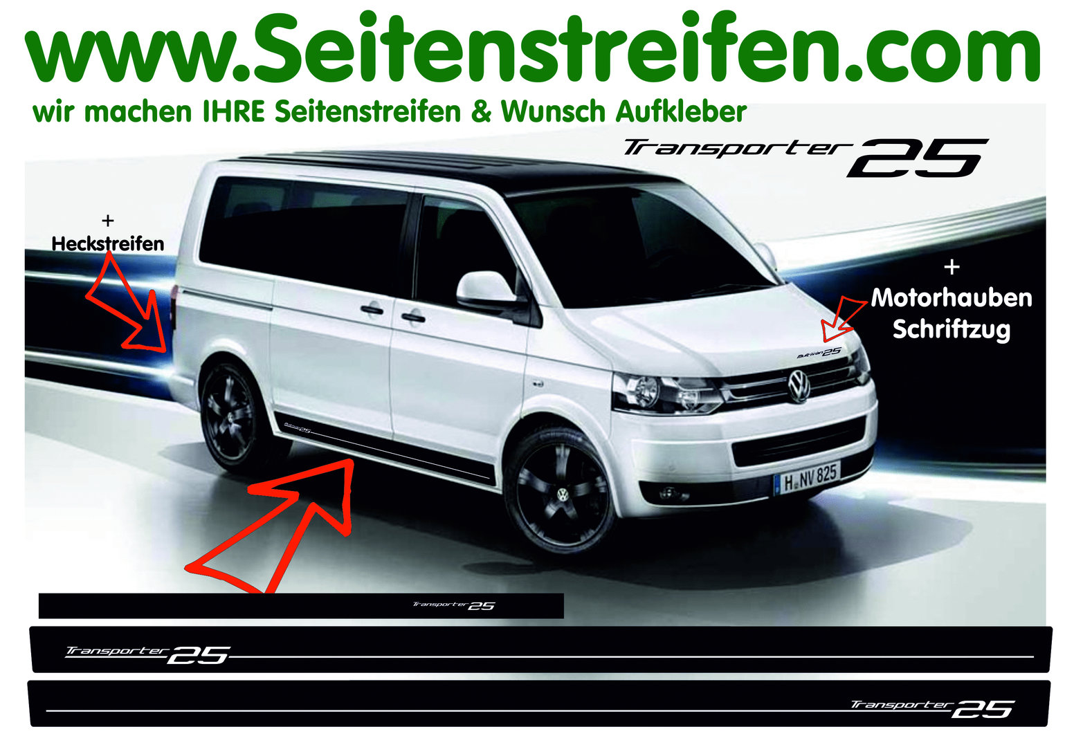 VW Bus T4  T5 Transporter 25  Pegatinas Laterales Adhesivo - set completo - N° 7002