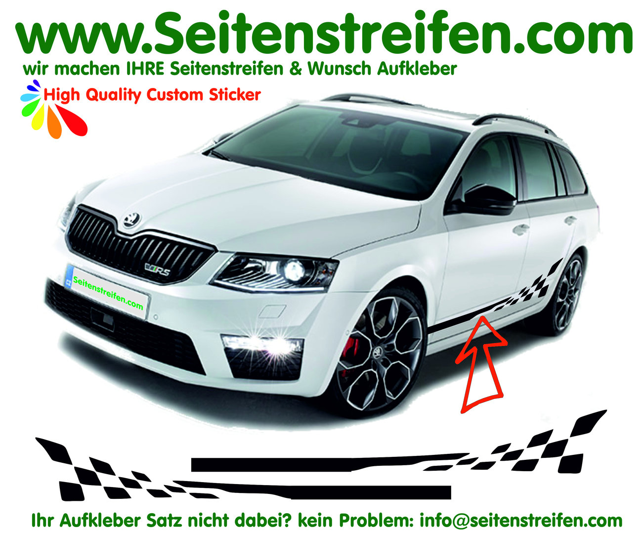 Skoda Rapid Spaceback Checker bande latérale autocollant ensemble complet - N° 6250