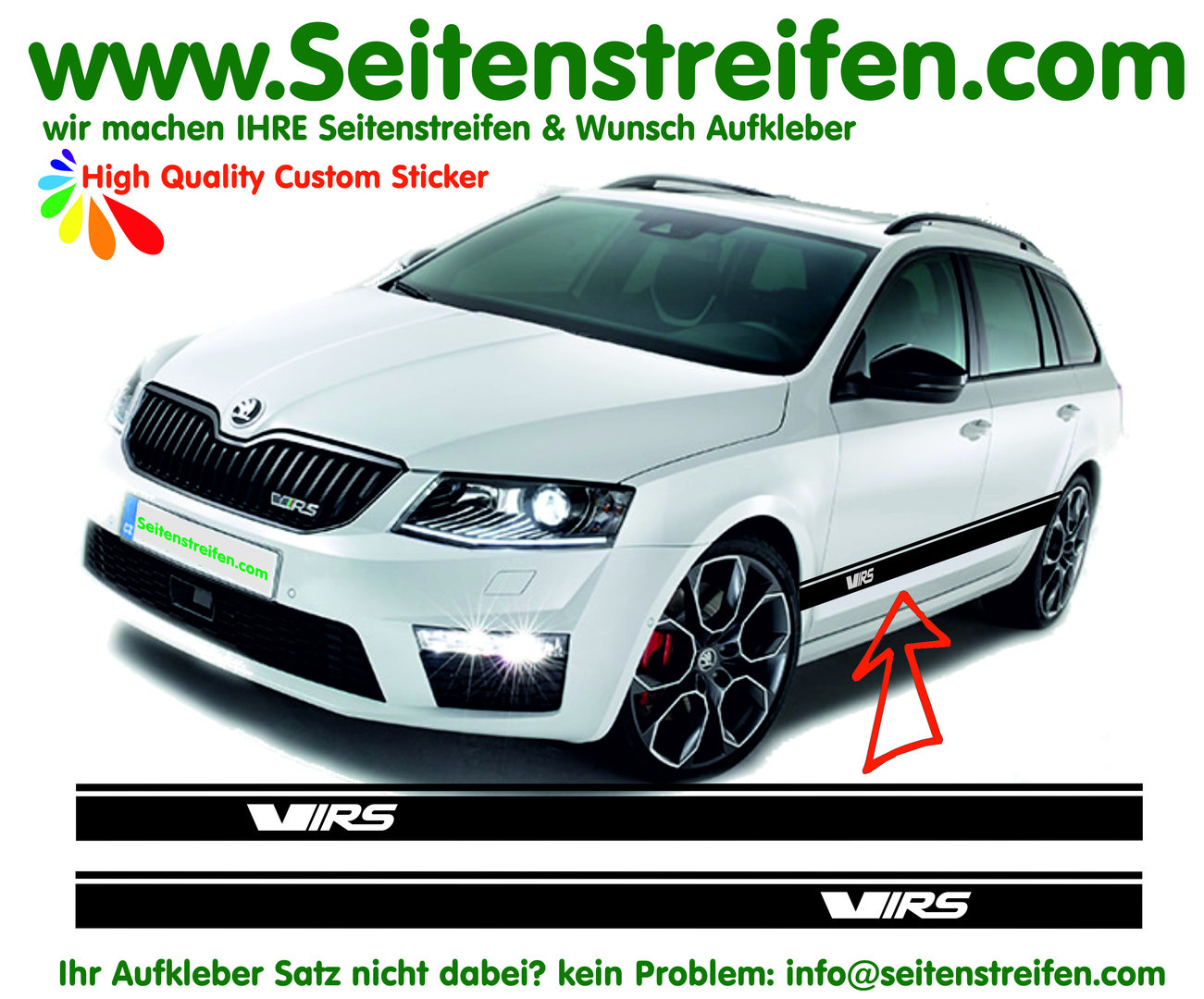Skoda Rapid Spaceback VRS / RS Sticker Autocollant Trousse complète sticker Set - N° 6252