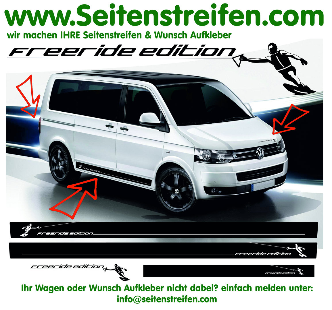 VW Bus T4 T5 T6 - WAKEBOARD Freeride Edition - Side Stripes Graphics Decals Sticker Kit - N° 9709