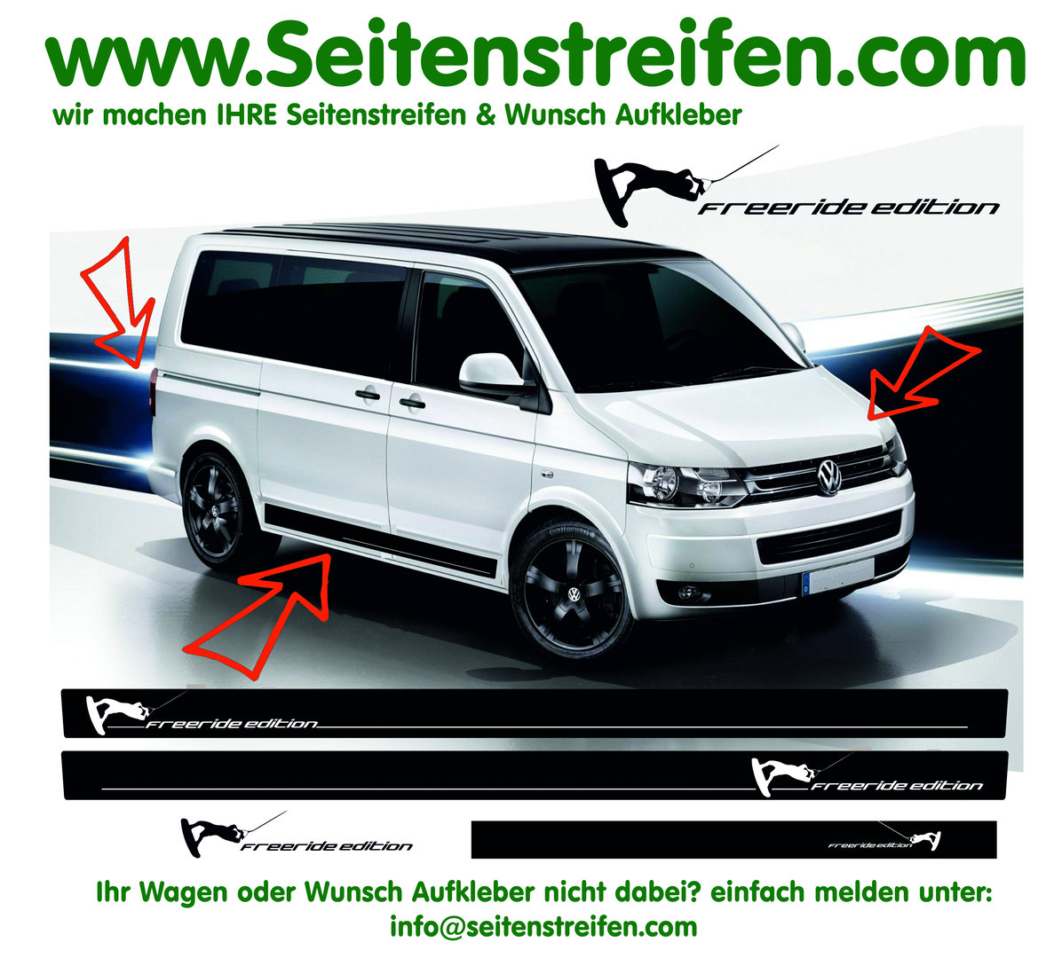 VW Bus T4 T5 T6 - WAKEBOARD Freeride Edition - Side Stripes Graphics Decals Sticker Kit - N° 9732