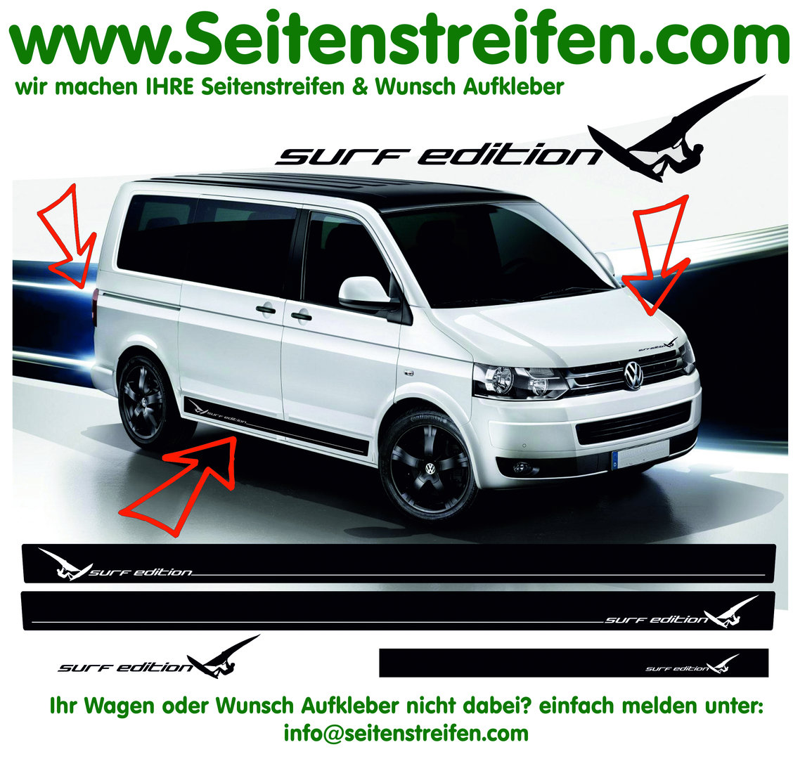 VW Bus T4 T5 T6 - Surf  Edition - Side Stripes Graphics Decals Sticker Kit - N° 4711