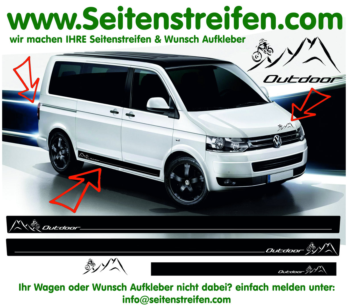 VW Bus T4 T5 Mountainbike Downhill Freeride edition - set de pegatinas laterales Set N° 3772
