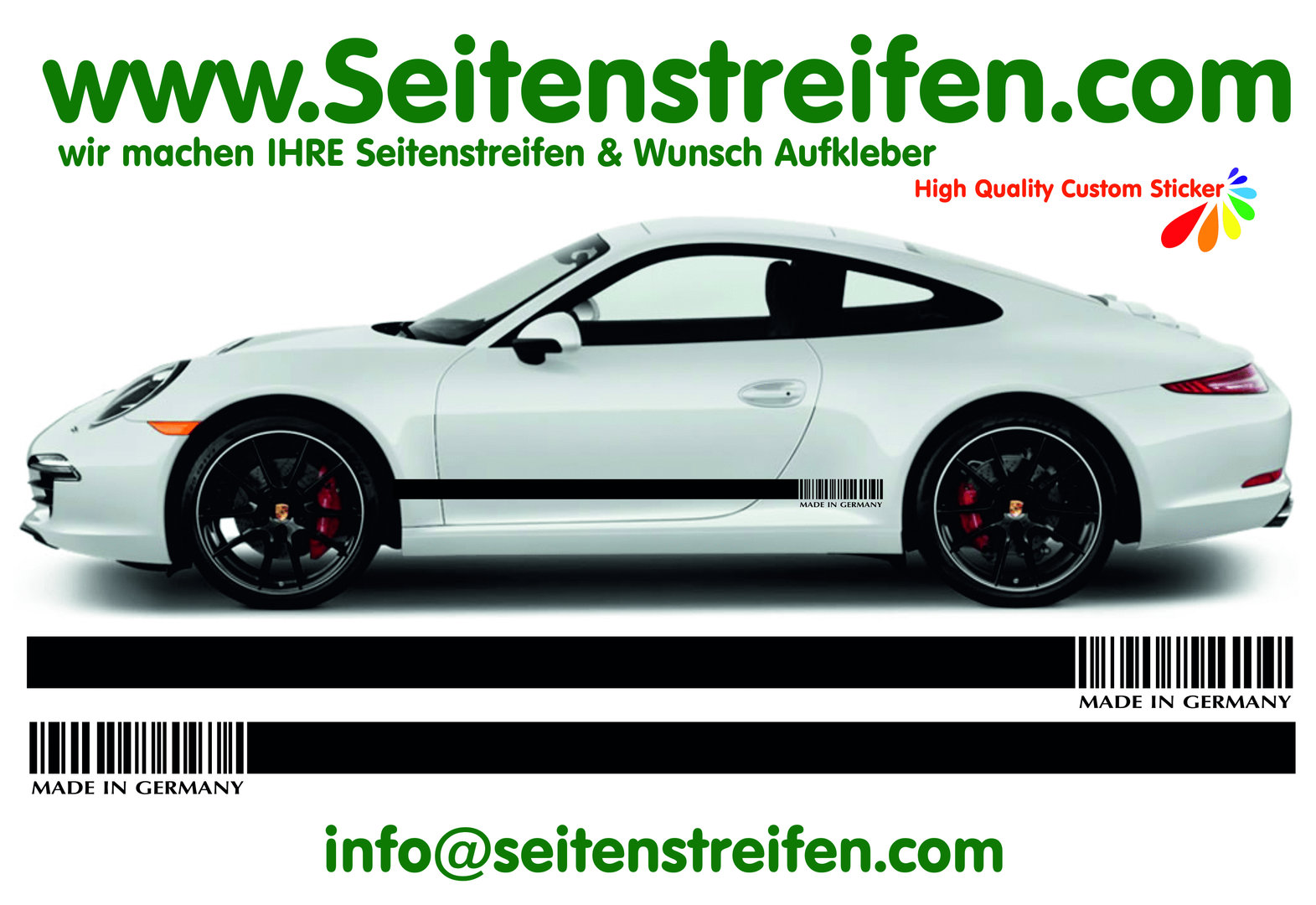 MADE IN GERMANY - Porsche 911 Decal Side Stripes Sticker Decor Set