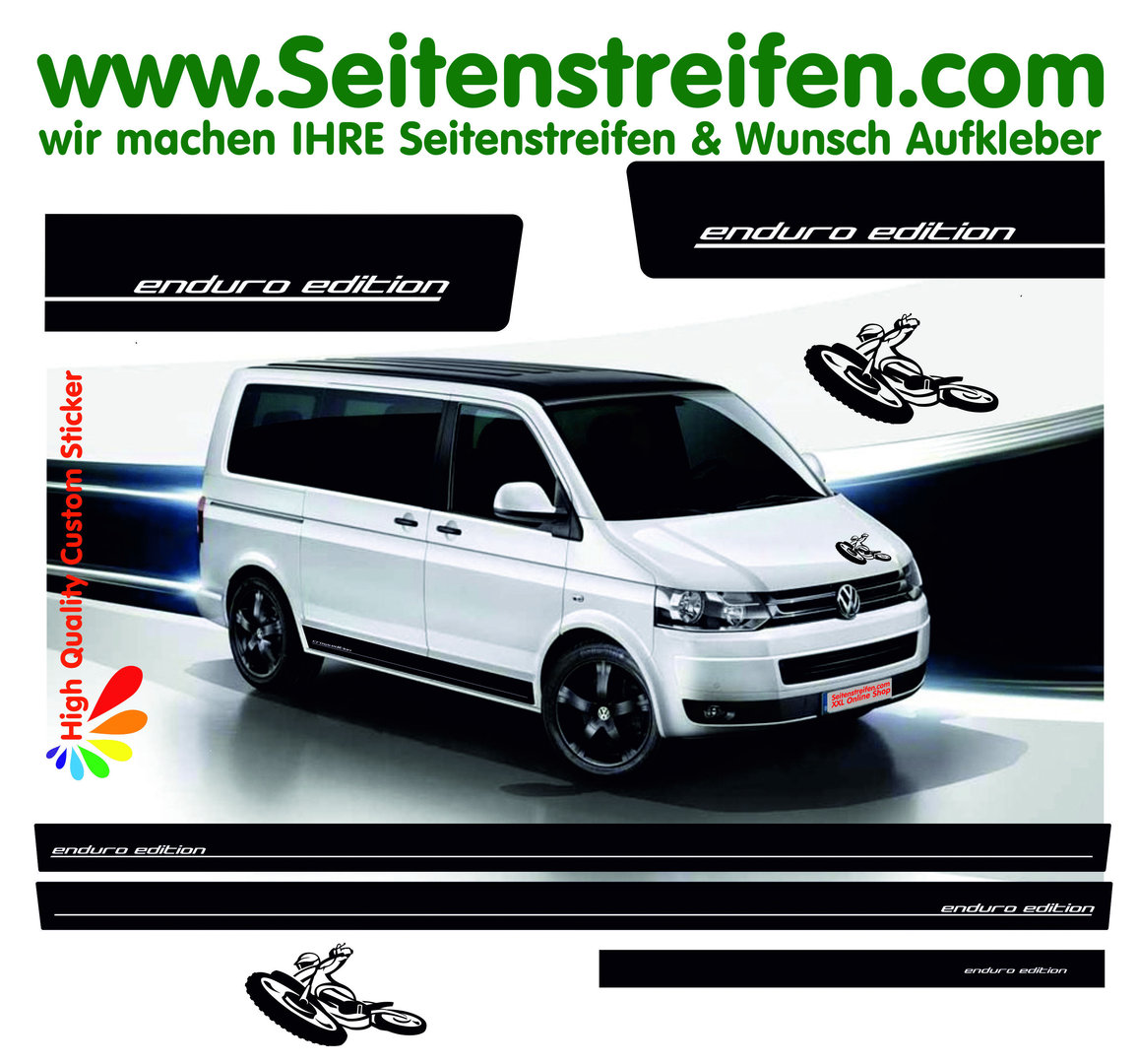 VW Bus T4 T5 T6 - Enduro Edition Motorbike Motocross - Graphics Decals Sticker Kit - N° 8953