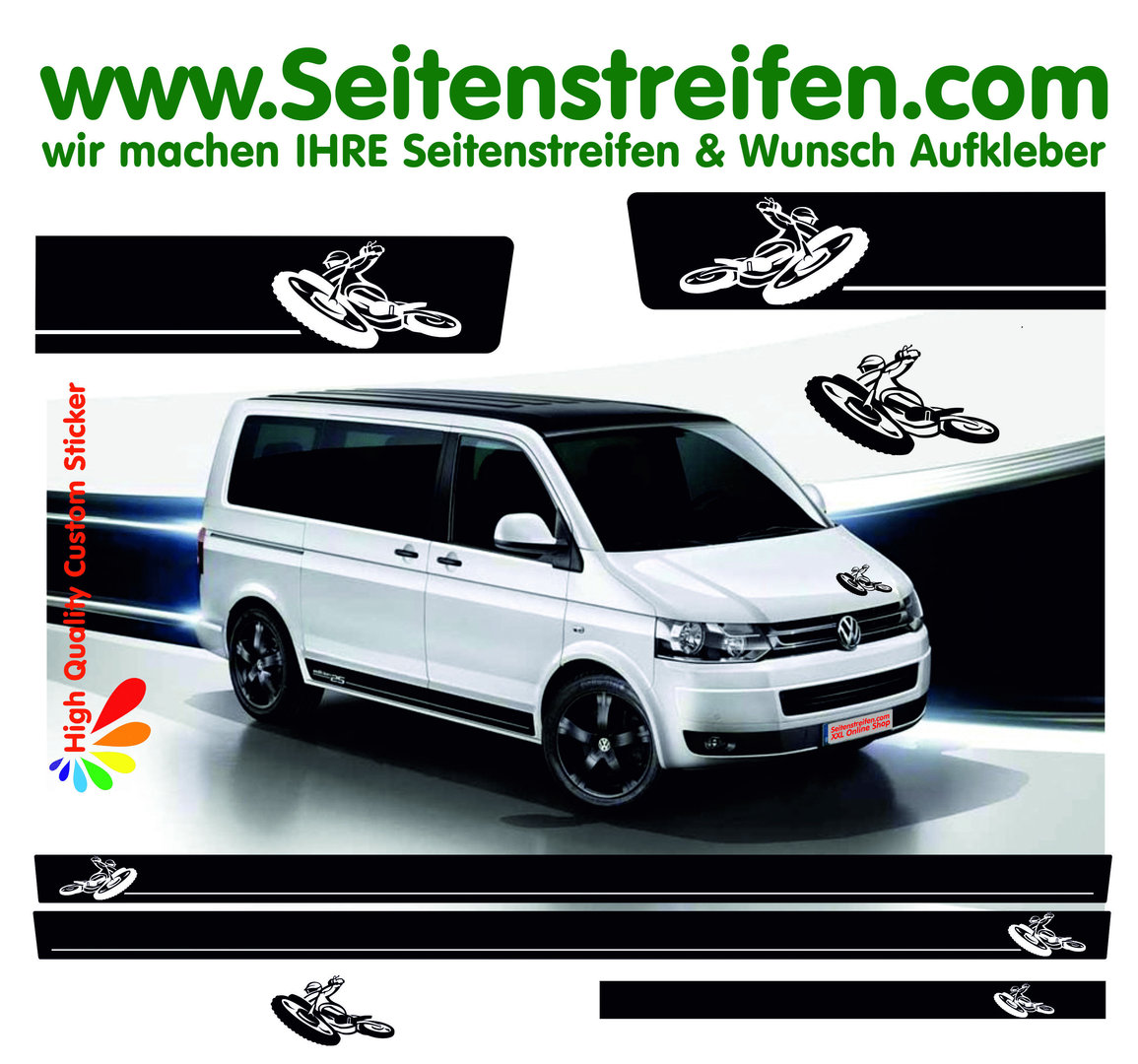 VW Bus T4 T5 T6 - Hard Enduro Motorbike Motocross - Graphics Decals Sticker Kit - N° 8954
