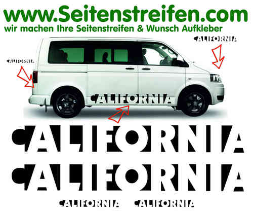 VW Bus T4 T5 T6 California San Francisco Look Seitenstreifen Aufkleber Komplett Set - Nr. 3550