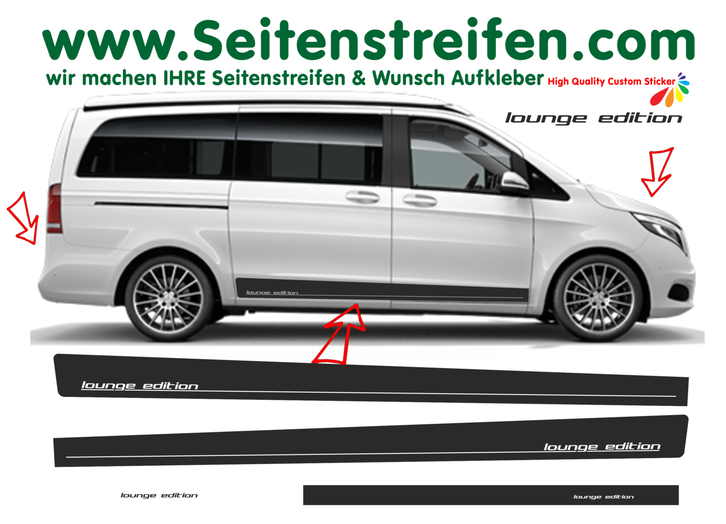 Mercedes Benz Class V Vito - model series 447/693/638 Lounge Edition - Decals Sticker Kit - N° 8847