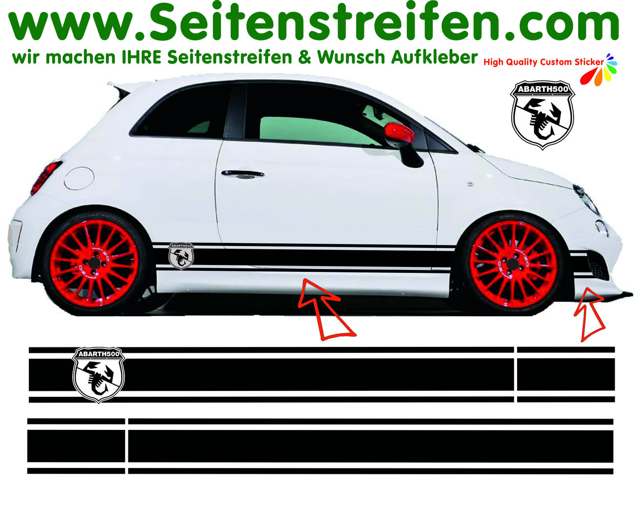 Fiat 500 Abarth Logo Xl Side Stripes Graphics Decals Sticker Kit N 1148
