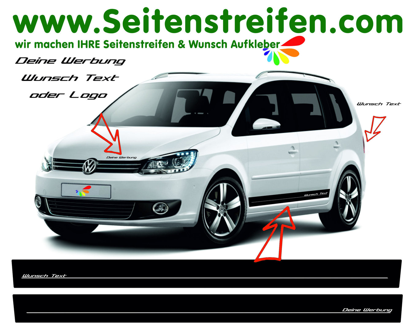 VW Touran - YOUR TEXT / ADVERTISEMENT - Side Stripes Graphics Decals Sticker Kit - N° 4776