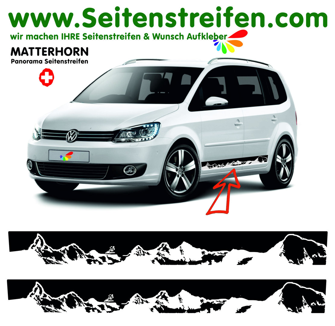 VW Touran - Matterhorn Zermatt Panorama - Side Stripes Graphics Decals Sticker Kit - N° 3776