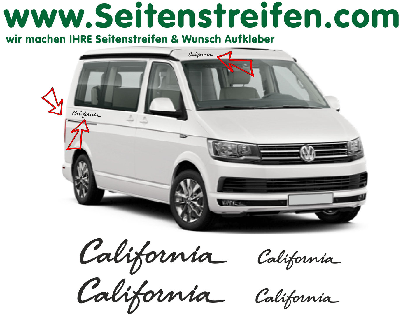 VW BUS T5 T6 California 4 Aufkleber Dekor  Komplett Set - Art.Nr.: 6683