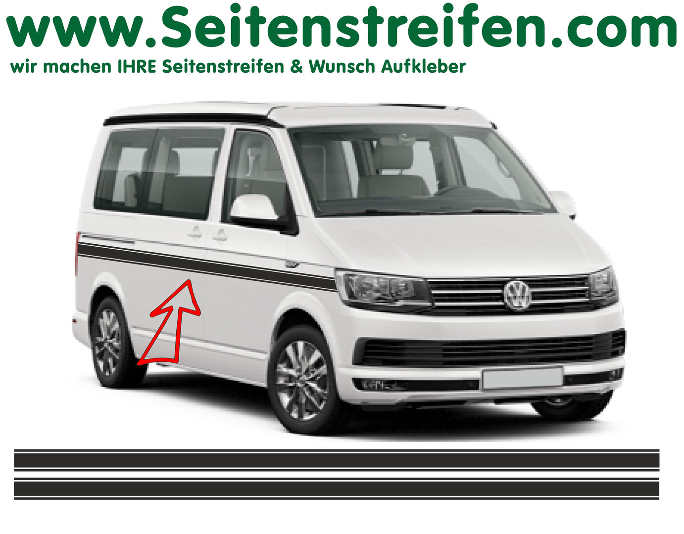 VW Bus T6 Custom  set completo de pegatinas laterales - N° 6684
