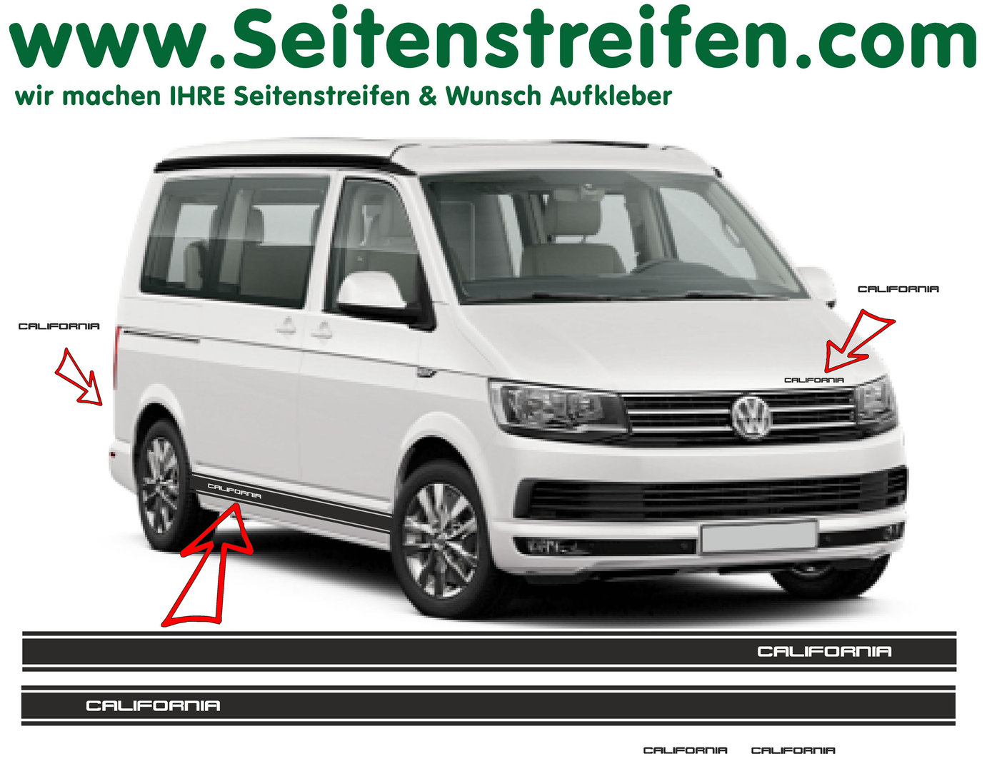 VW BUS T5 T6 California Version N°2  Seitenstreifen Aufkleber Dekor Set - Art.Nr.: 6690