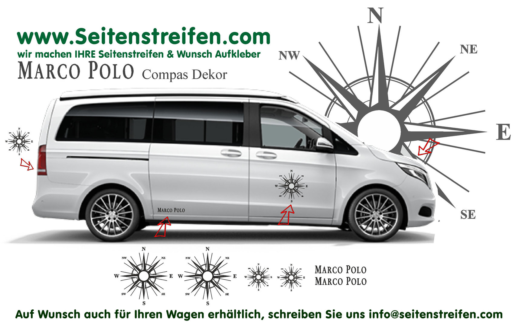 Mercedes Benz Class V Vito - model series 447/693/638 Marco Polo Compas Decals Sticker Kit - N° 8889