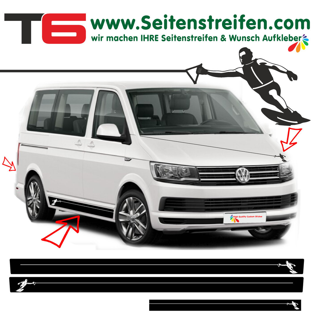 VW Bus T4 T5 T6 - Wakeboard Water Ski Water Sports Edition - Graphics Decals Sticker Kit - N° 6999