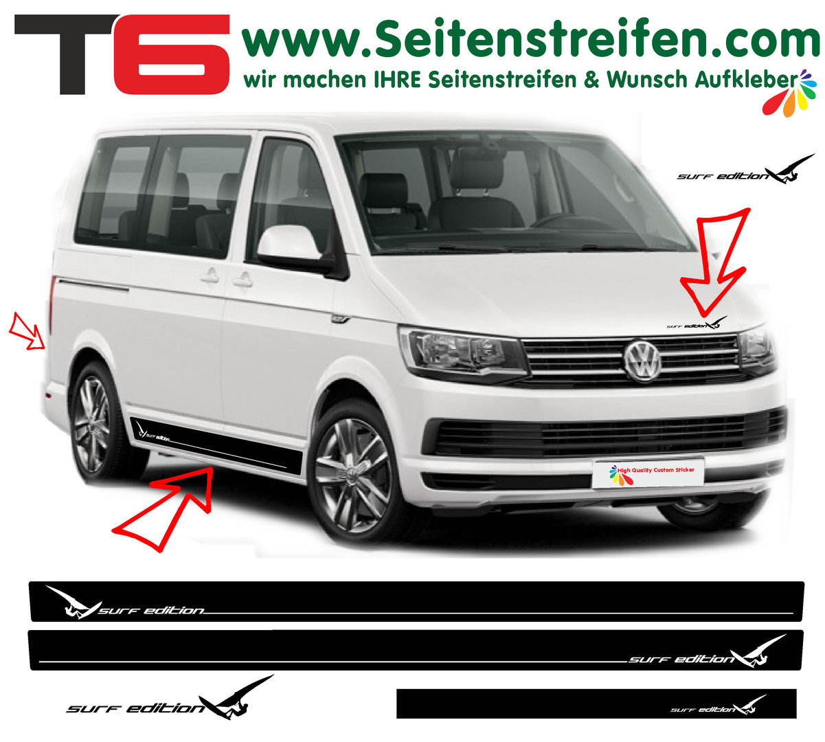 VW Bus T4 T5 T6 - Surf Edition Sport - Side Stripes Graphics Decals Sticker Kit - N° 6929