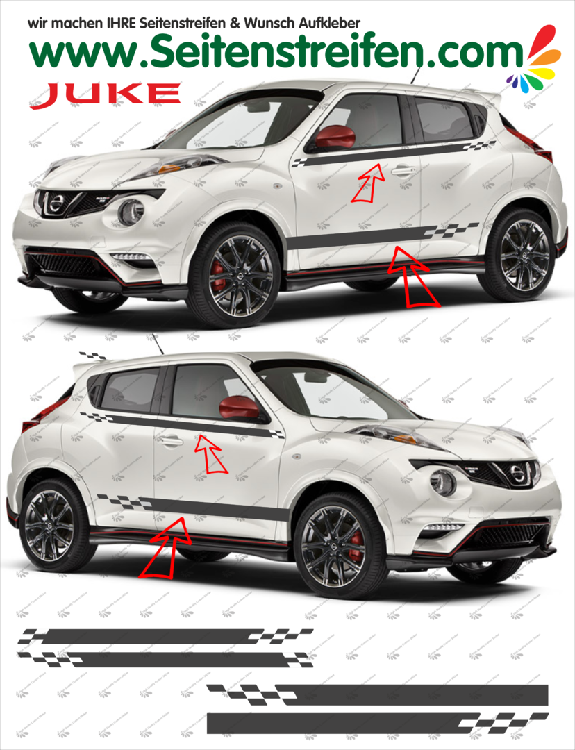 Nissan Juke Nismo R Look  Pegatinas Laterales / Adhesivo / Sticker - set completo N° 1533