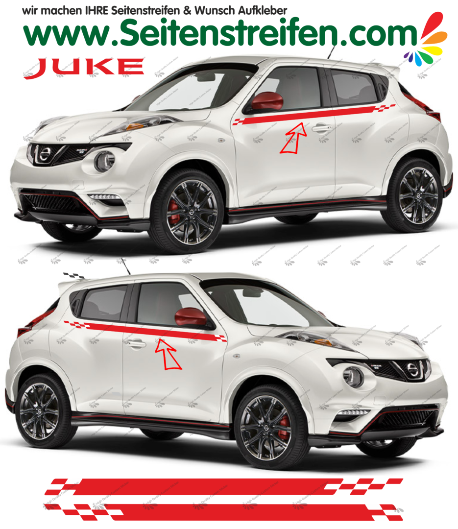 Nissan Juke Nismo R Look  Pegatinas Laterales / Adhesivo / Sticker - set completo N° 1534