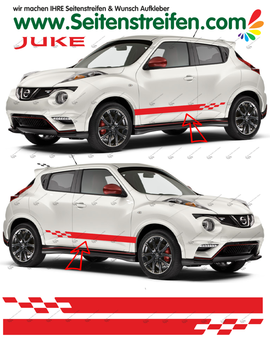Nissan Juke Nismo R Look  Pegatinas Laterales / Adhesivo / Sticker - set completo N° 1535