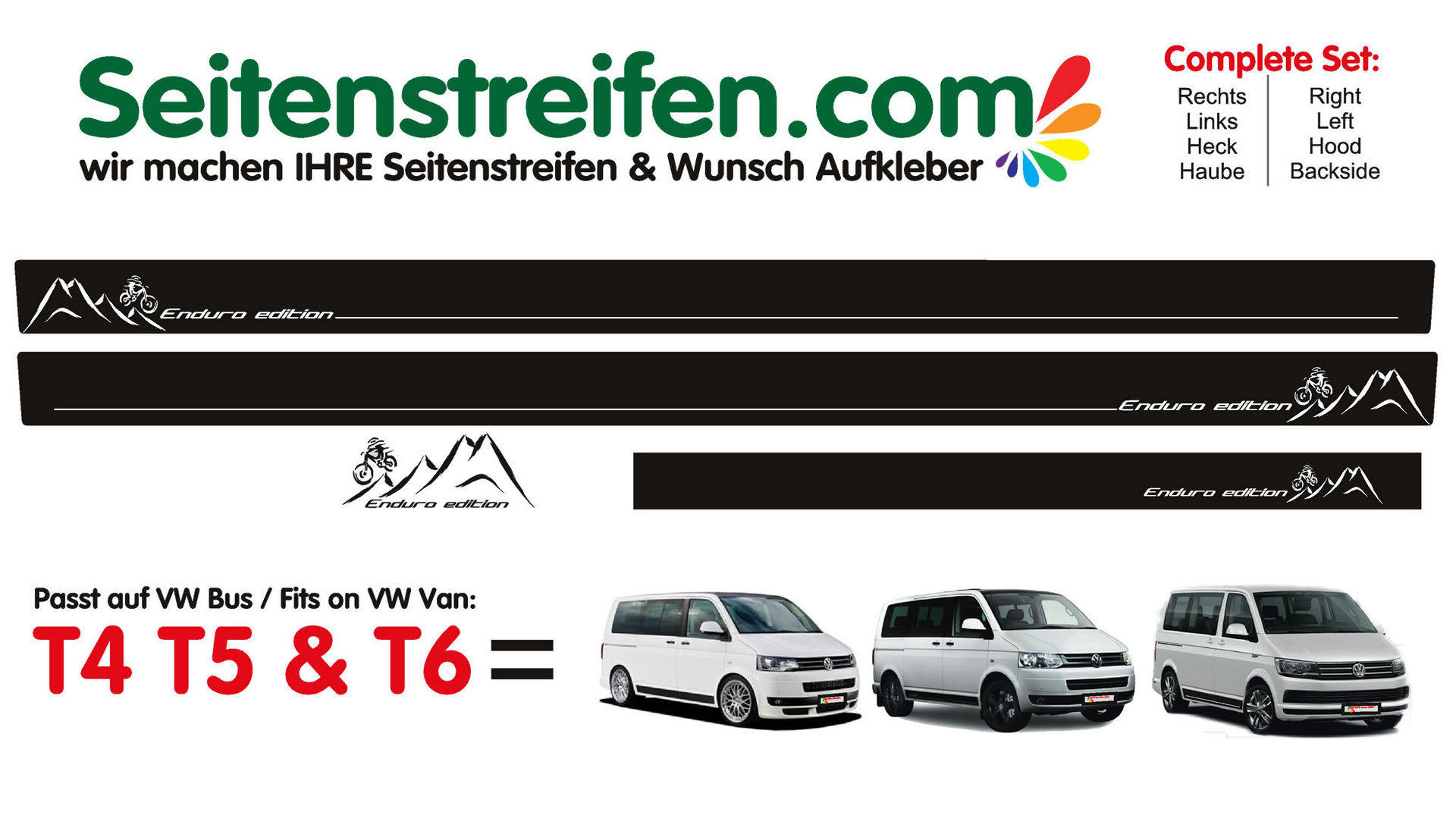 VW BUS T4 T5 T6 - Enduro Edition - Side Stripes Graphics Decals Sticker Kit - N° 3301