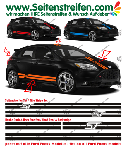 Ford Focus ST - sticker autocollant ensemble complet set - N° 1059