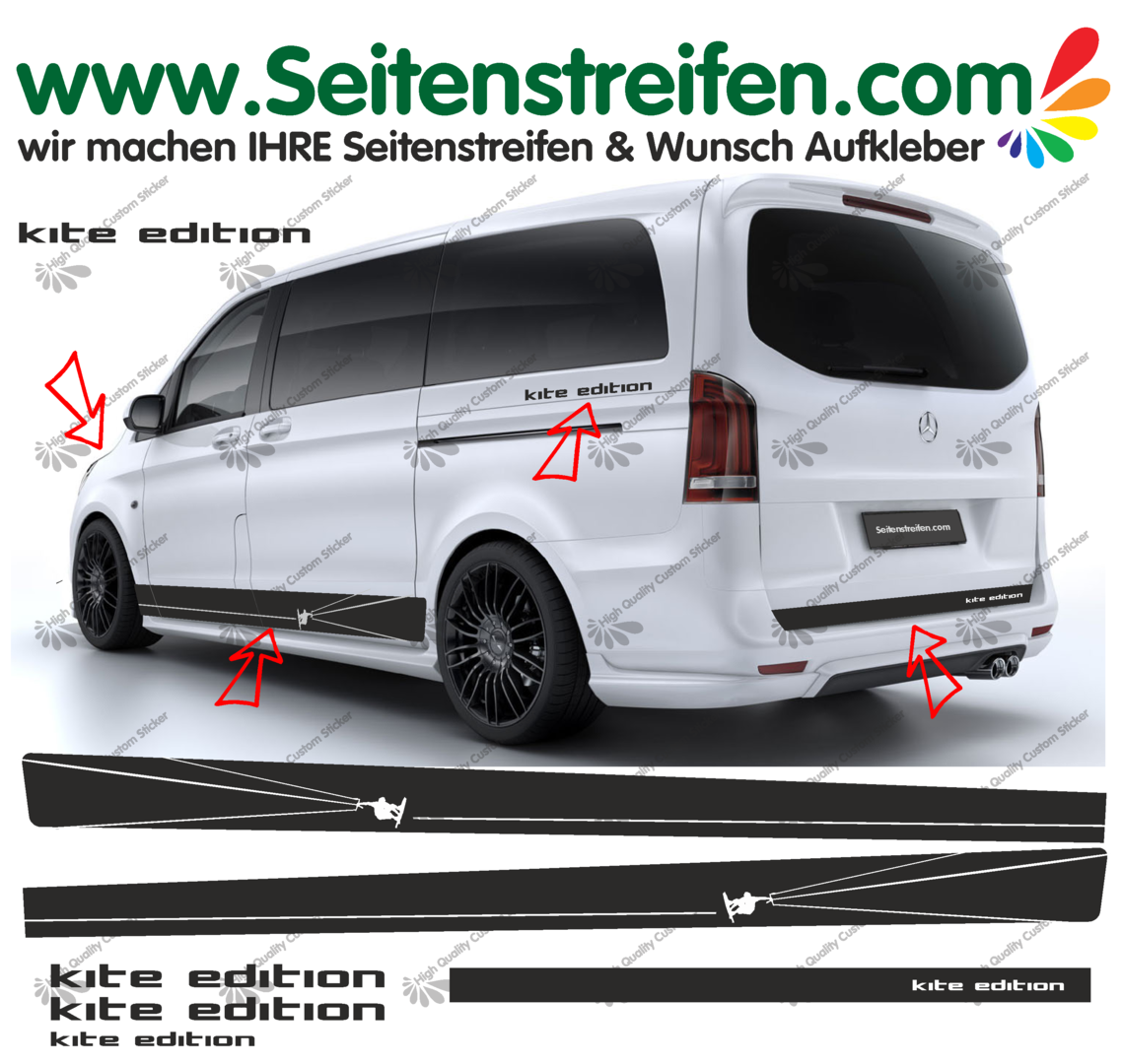 Mercedes Benz Class V - 447/693/638 Kite Surf - Side Stripes Graphics Decals Sticker Kit - N° 6758