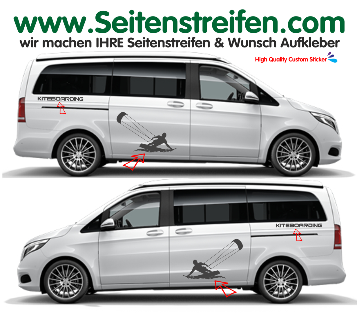 Mercedes Benz Class V - XL Kitesurf - Side Stripes Graphics Decals Sticker Kit - N° 9503