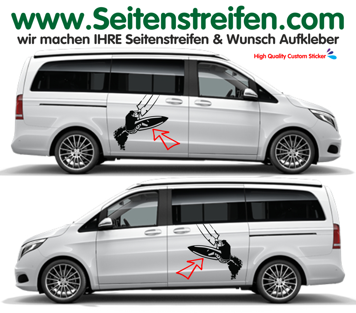Mercedes Benz Class V - 447/693/638 XXL Kitesurf Side Stripes Graphics Decals Sticker Kit - N° 9505