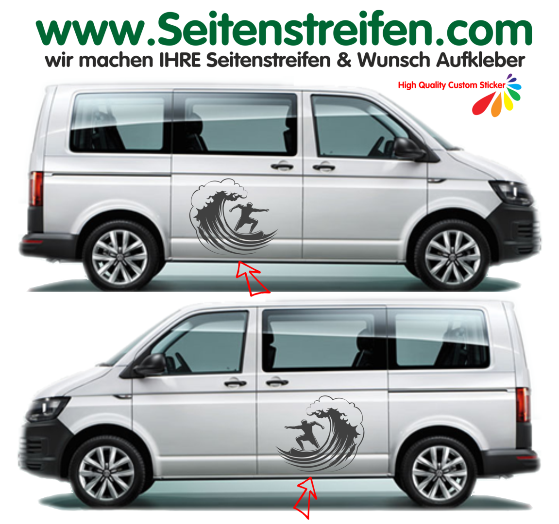 VW Bus T4 T5 T6 - Surfer Surf Wave - Graphics Decals Sticker Kit - N° 9550