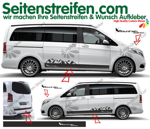 Mercedes Benz V Klasse Mountain Edition Berg Panorama Outdoor Seitenstreifen Aufkleber Set N° 948